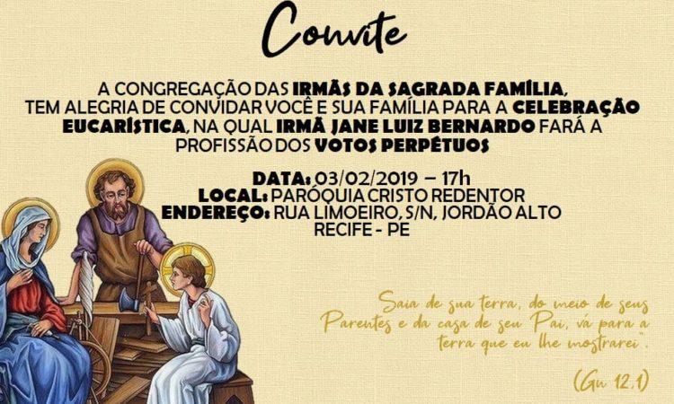 Invitation aux vœux perpétuels de Sr Jane Luiz Bernardo