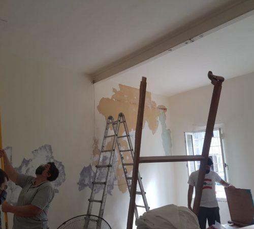 Peinture des murs au plafond