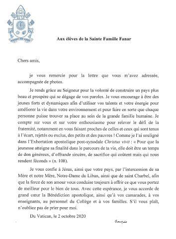 La réponse du Pape François